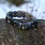 Cabochon-Armband mit Perlen Feuerstein