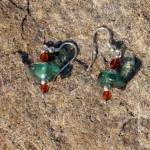 Ohrhänger aus Bernsteinperlen mit grünlichem/türkisem Seeglas und Silber