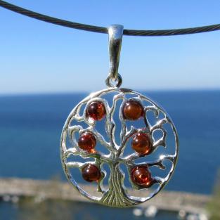 Runder, filigraner Silberanhänger mit 6 kognacfarbenen Bernsteinen , Baum des Lebens