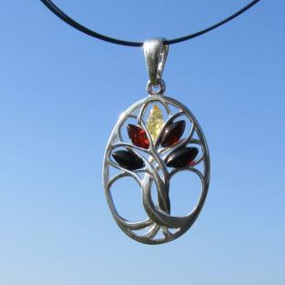 Ovaler, filigraner Silberanhänger mit verschiedenen Bernsteinen , Baum des Lebens