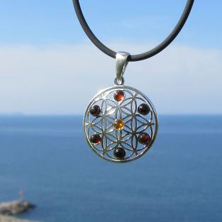 Filigraner Silberanhänger mit kognacfarbenen Bernsteinen , Blume des Lebens , Mandala