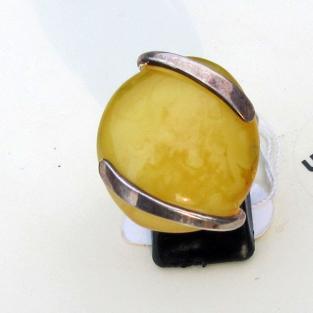 Edler Fingerring aus Silber und Bernstein in butterscotch