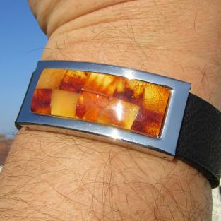 Edles Armband aus Kautschuk mit Intarsien aus  Bernstein ( individuell einkürzbar !!!)