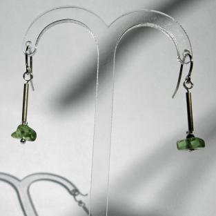 Ohrhänger mit Seeglas und Silber