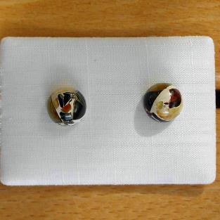 Ohrstecker mit Halbkugeln aus verbundenem Bernstein / Mosaikbernstein