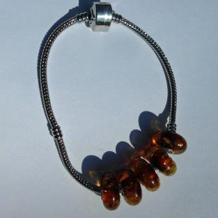 Kognacfarbener Bead für Pandora oder Trollbeads mit kleinen Einschlüssen