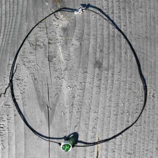 Collier mit Seeglas im Silberring grünes Seeglas