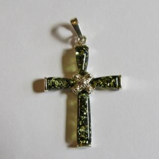 Grosser Anhänger als Kreuz aus Silber mit Bernstein