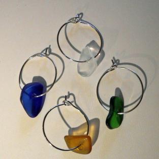 4er Set Marker fürs Weinglas aus Seeglas