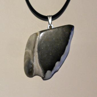 Anhänger versteinerte Dickmuschel Auster an einer Silberöse (925)