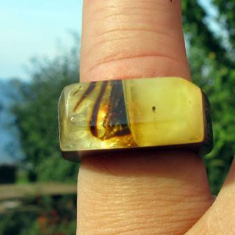 Wunderschöner Fingerring  aus Holz und Bernstein