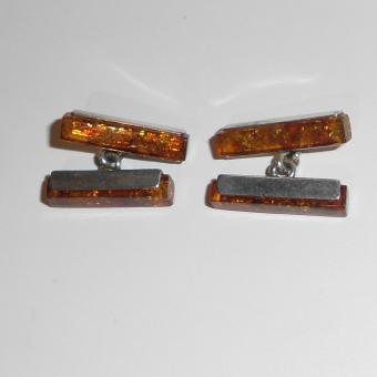 Manschettenknöpfe aus Bernstein und Silber (925)
