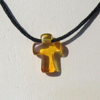 Edles Nyloncollier mit einem kleinen Bernsteinkreuz