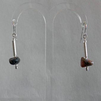 Ohrhänger polierte Kiesel mit Silber