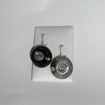 Ohrhänger Feuerstein mit Spirale