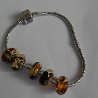 Schicker Bead für Pandora, Mosaikbernstein